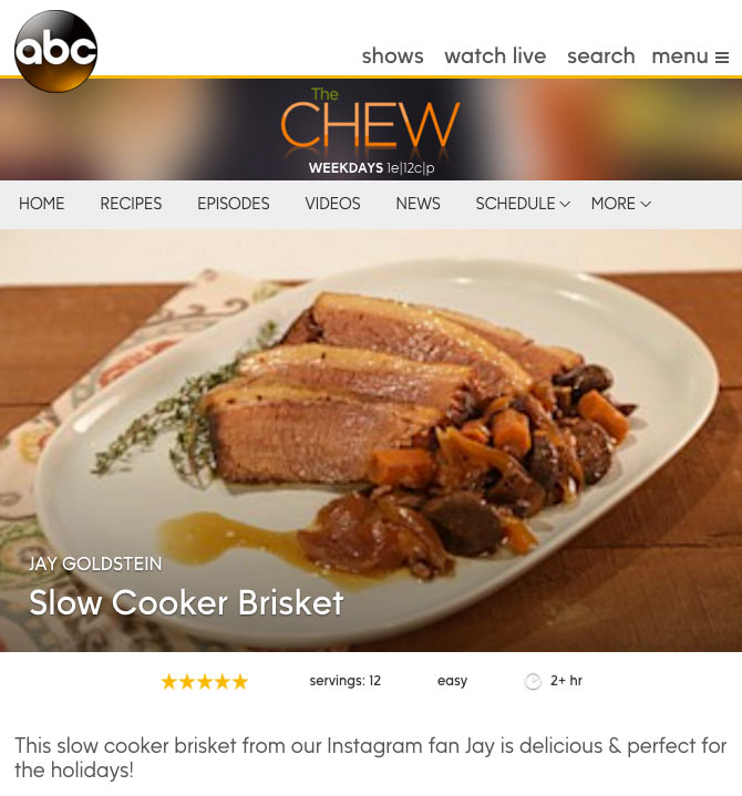 The Chew Slow Cooker Brisket