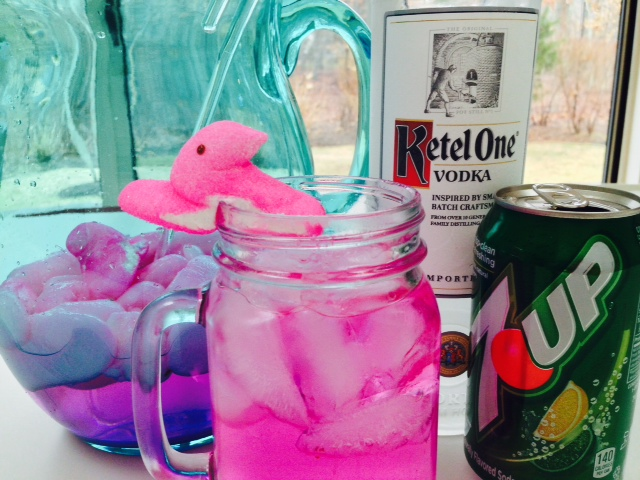 PEEPS Cocktail Recipe. Grab vodka, candy, and soda. This is easy colorful drink celebrates the holidays with a DIY cocktail. www.ChopHappy.com #cocktail #Easterrecipe