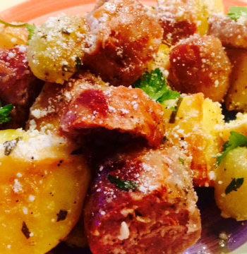 Roasted Sausage, Potatoes and Grapes