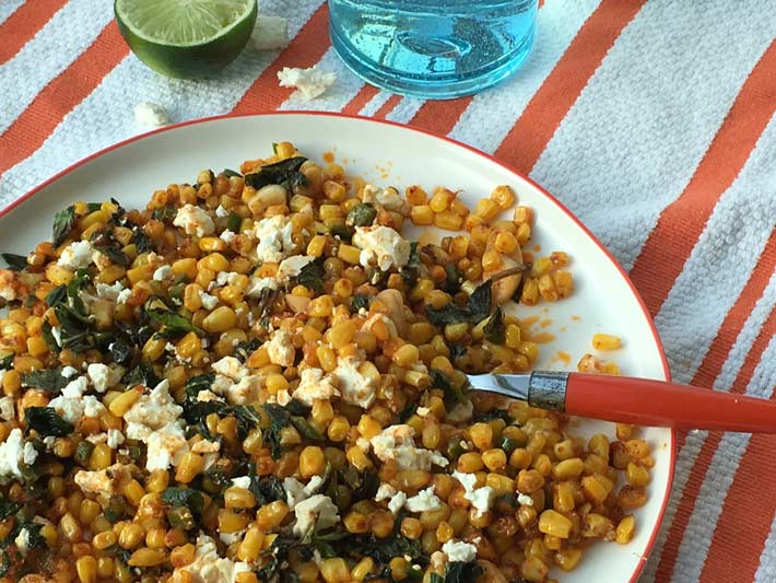 Mexican Street Corn Salad Recipe - that is super easy, one pot , and smokey delish. This is an easy side dish or weeknight recipe. Happy Cooking! www.ChopHappy.com