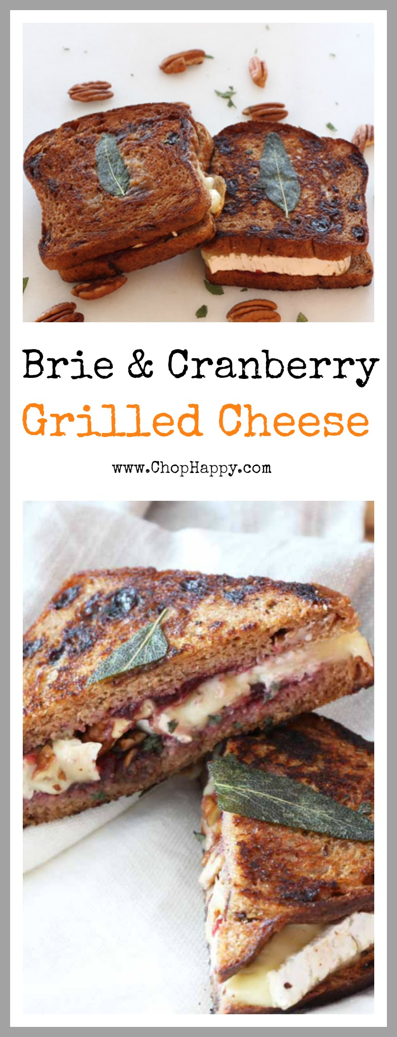 Brie and Cranberry Grilled Cheese Recipe- is so easy and creamy sweet, cheesy, and delish. Tastes like the baked brie appetizer between two pieces of cinnamon raisin bread. www.ChopHappy.com