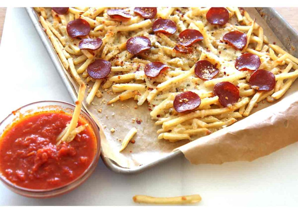 Pizza Fries Recipe are so easy, quick, and will make your weeknights feel like a party. We took some awesome short cuts to make this recipe even easier. ChopHappy.com
