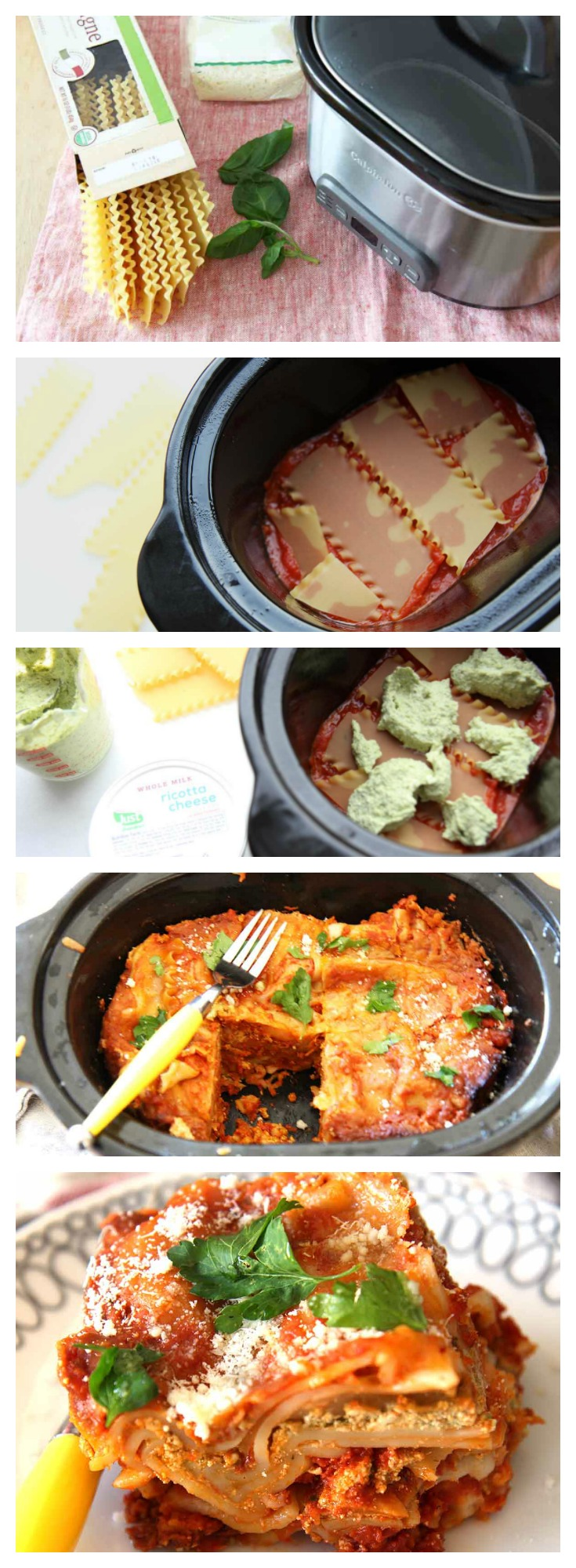 Slow Cooker Pesto Lasagna Recipe. Easy hot meal waiting for you when you get home.. The short cut is no need to boil the noodles and one pot. ChopHappy.com