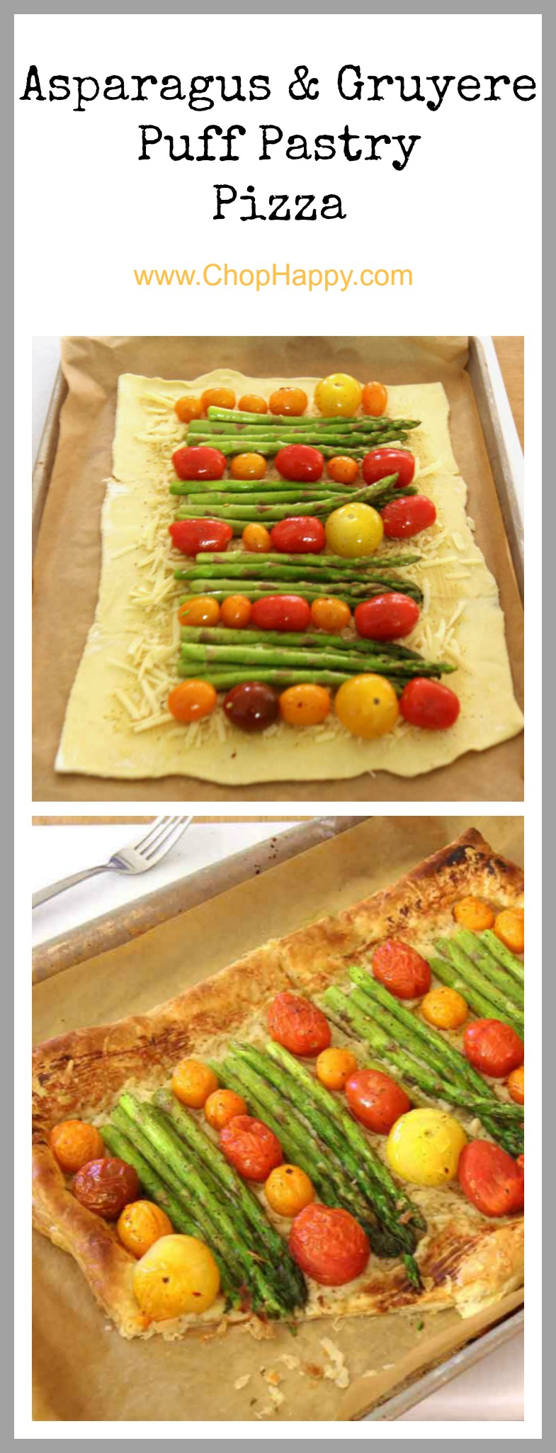 Asparagus and Gruyere Puff Pastry Pizza Recipe - is flaky, cheesy, and amazing comfort food smiles. Grab puff pastry, tomatoes, cheese, and fun spices for this easy recipe. www.ChopHappy.com #pizza #appetizer