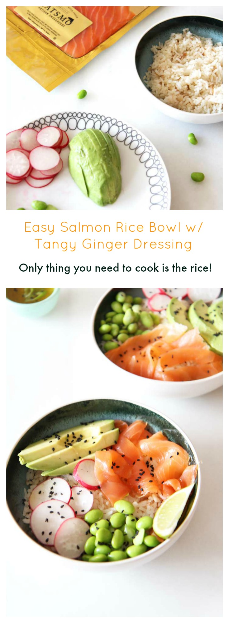 Easy Salmon Rice Bowl Recipe w/ Ginger Dressing. ChopHappy.com