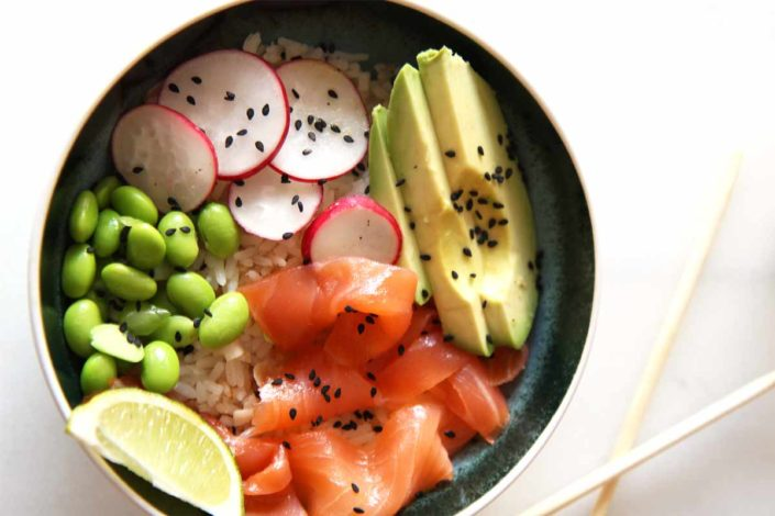 Salmon Rice Bowl Recipe. Easy, quick, and so comforting. Plus 2 recipes in one. ChopHappy.com