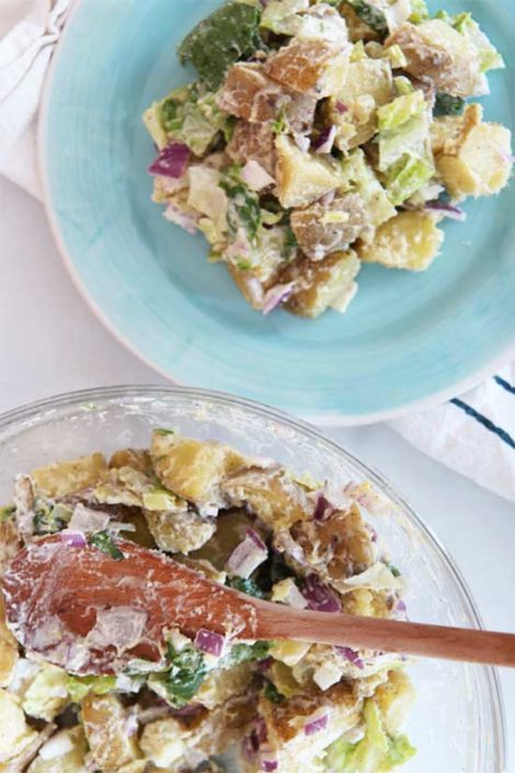 Caesar Parmesan Potato Salad Recipe. It is super simple creamy cheesy delish. ChopHappy.com
