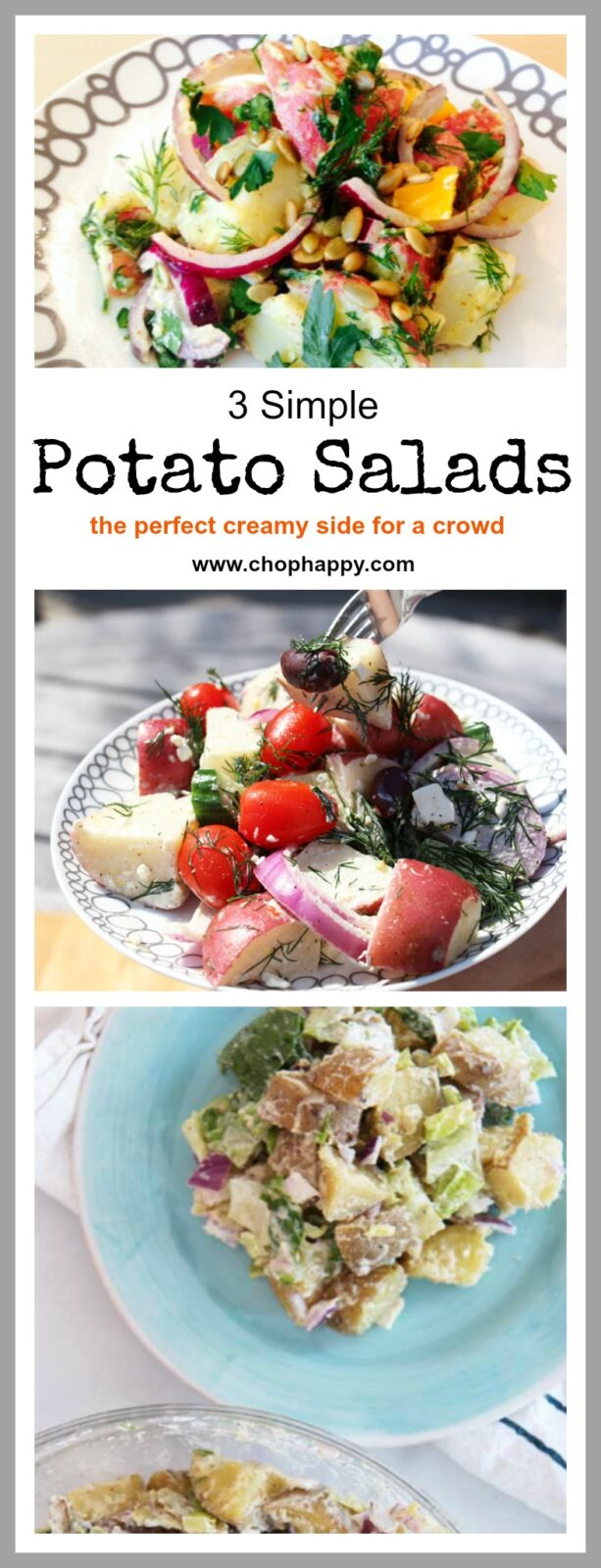 3 Amazingly Easy Potato Salad Recipes- All of them are a family favorite that makes smiles happen instantly. 1. Caesar Potato Salad, 2. Greek Potato Salad, and 3. Dijon Potato Salad. All 3 are make-ahead awesome. l www.ChopHappy.com