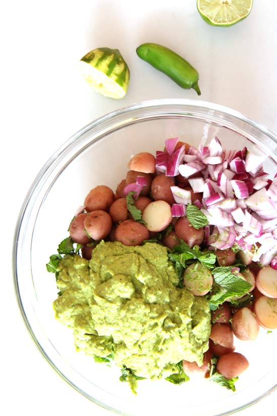 Avocado Potato Salad Recipe. Every bite is creamy, citrusy, and feels like a perfect union of guacamole and potato salad. Easy and fun to make. ChopHappy.com