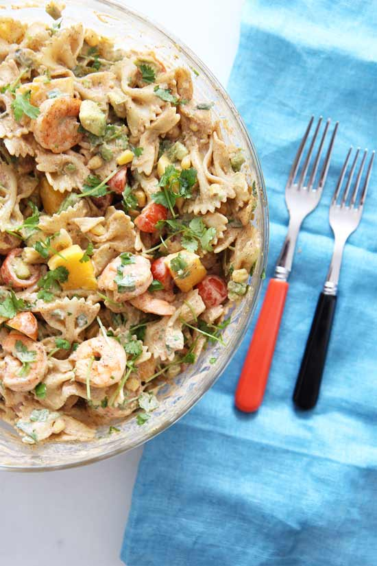 Shrimp Taco Pasta Recipe. This quick dinner recipe is creamy, smokey, and so hearty good. There are #leftovers you will crave for days. Feel free to substitute shrimp for leftover chicken, beef or veggies. www.chophappy.com #comfortfood #pasta #quickdinner