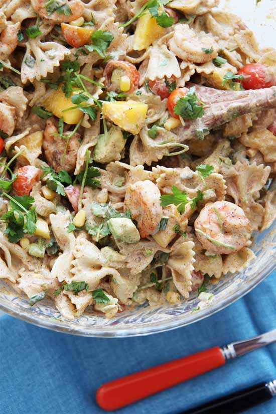 Shrimp Taco Pasta Dinners Recipe. This recipe is creamy, smokey, and so hearty good. There are leftovers you will crave for days. Feel free to substitute shrimp for leftover chicken, beef or veggies. www.chophappy.com