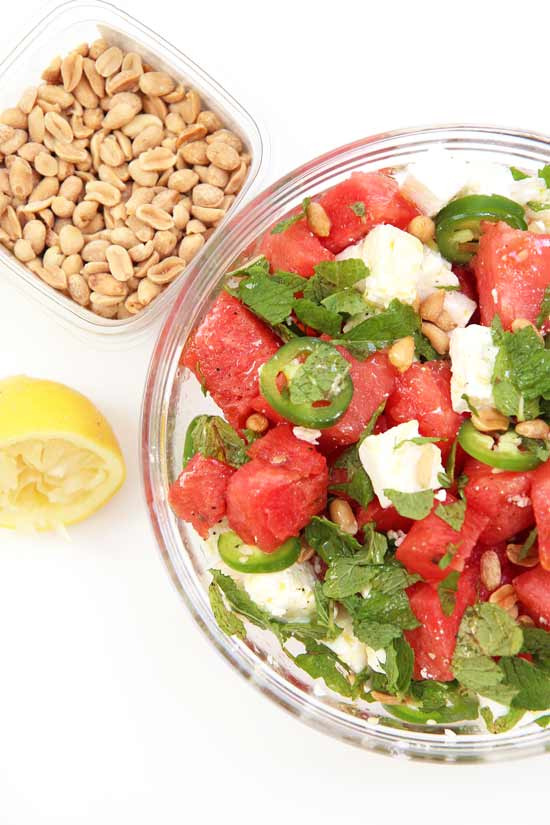 Watermelon Feta Salad Recipe. Easy, great make-ahead, and so juicy sweet. www.ChopHappy.com