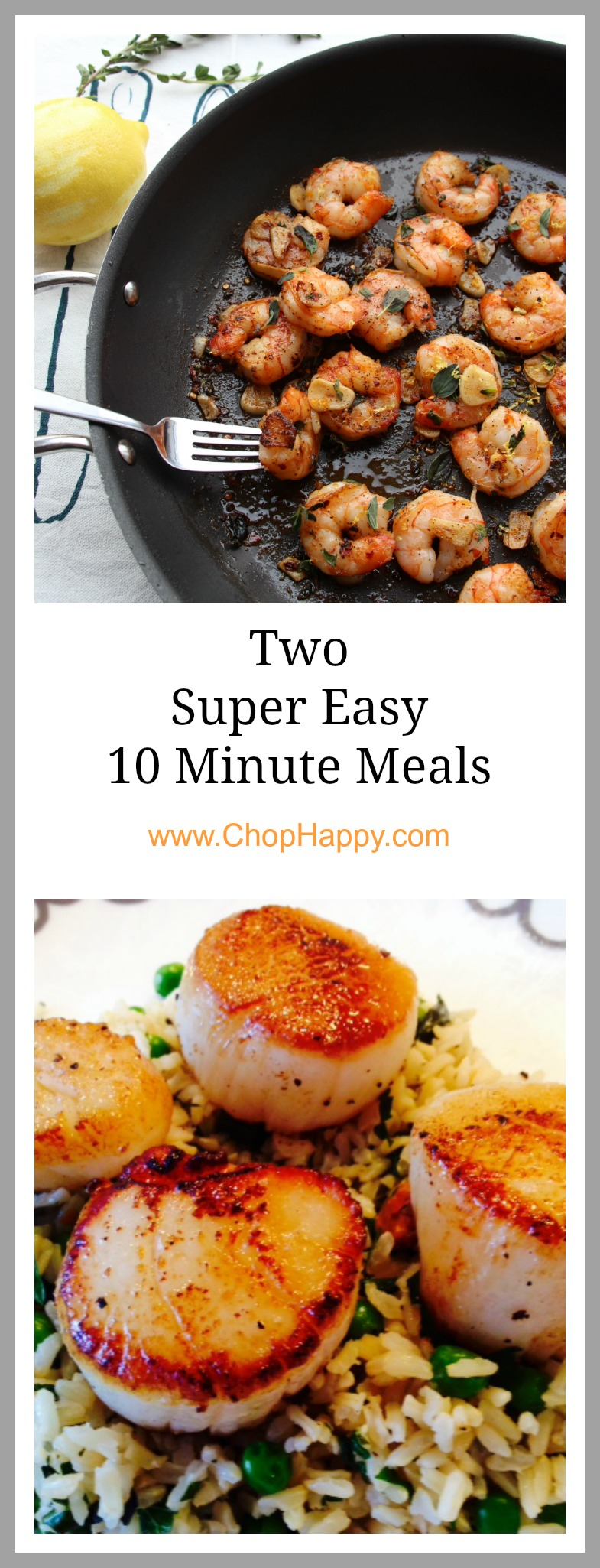 Two Super Easy 10 Minute Meals.. The ultimate busy day recipes. One pan, 10 minutes, and so full of flavor. www.ChopHappy.com