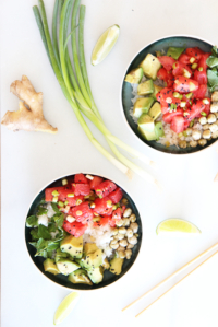 Watermelon Avocado Poke Bowl