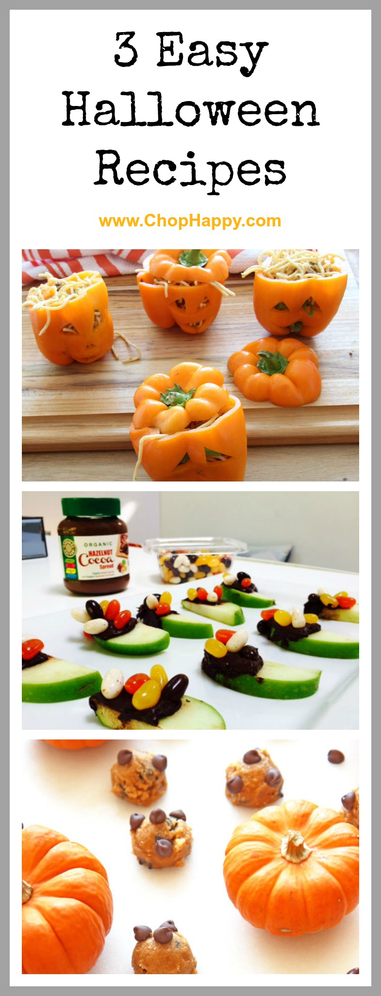 3 Easy Halloween Recipe- that are super simple, fun, and DIY Halloween recipes for the whole family. www.ChopHappy.com