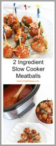 2 Ingredient Slow Cooker Meatballs Recipe - that is easy party food or Sunday family dinner. Grab sausage and sauce and comfort food love awaits. www.ChopHappy.com
