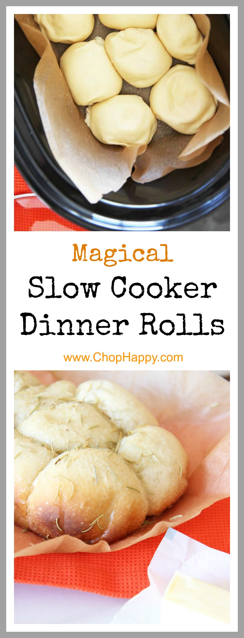 Slow Cooker Dinner Rolls Recipe - is so easy and makes more room in the oven. Grab dinner roll dough, garlic, rosemary, and a slow cooker (crock pot). This is magically awesome comfort food. www.ChopHappy.com #dinnerrolls