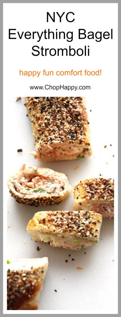 NYC Everything Bagel Stromboli Recipe - is so easy and every bite transforms you to a NYC bagel shop. Grab everything bagel seasoning, smoked salmon, cream cheese, and fun herbs. This will be your go to comfort food dinner recipe. Happy Cooking! www.ChopHappy.com