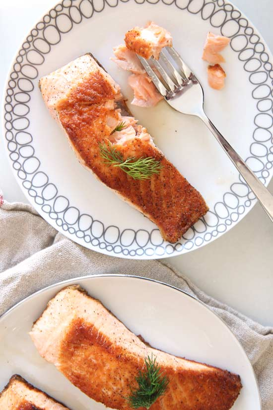 Six Minute Juicy Pan Seared Salmon