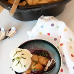 Slow Cooker Berry Cobbler Recipe- that is juicy sweet and flaky yummy. This is a super easy dessert. www.ChopHappy.com