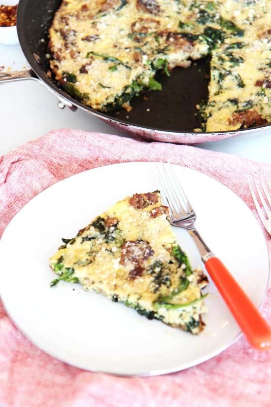 Sausage and Brocoli Rabe Frittata Recipe that is the perfect one pan #breakfast for #dinner. Grab eggs, sausage, and milk. This will be super easy yum! www.ChopHappy.com