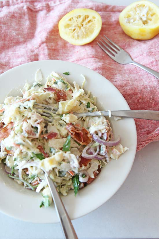 Bacon Blue Cheese Cole Slaw Recipe. This is super easy, make ahead and super creamy easy. www.ChopHappy.com #coleslaw #comfortfood #bluecheese