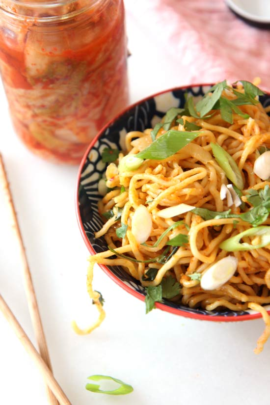 Kimchi Ramen Stir Fry (easy quick long day dinner). Grab your #kimchi, your #ramen, and dinner is ready. www.ChopHappy.com
