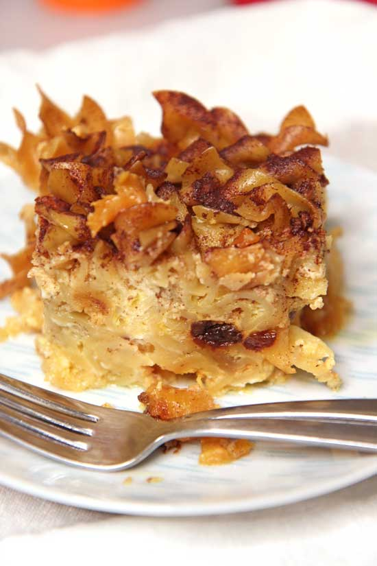Slow Cooker Noodle Kugel (Noodle Pudding) Recipe. This is a sweet custard that has juicy chunks of peaches and raisins. Also warming cinnamon to hug you. Perfect side dish or a staple on Jewish Holiday tables. Happy Cooking! www.ChopHappy.com #kugel #noodles