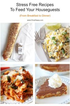 Stress Free Recipes To Feed Your Houseguests (From Breakfast to Dinner). From bagel stromboli, pasta in the slow cooker, and no bake peanut butter pie. Happy Cooking!