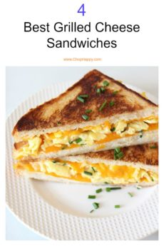 The 4 Best Grilled Cheese Sandwich Recipe. Crispy cheesy and crunchy sandwhich bliss. all of these recipes are super easy and dinner time fun! www.ChopHappy.com #grilledcheese #sandwich