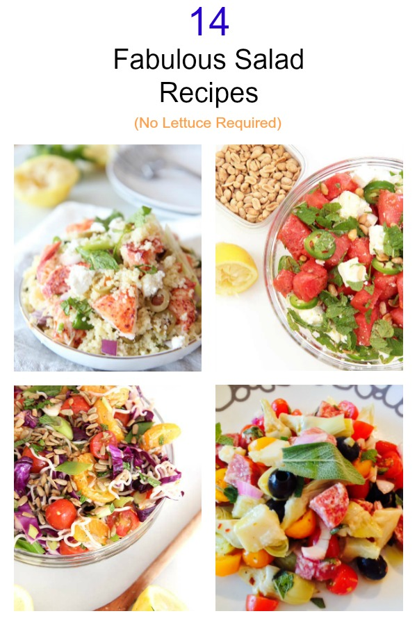 14 Fabulous Fast Salads With No Lettuce Required. All these recipes are fast, easy, and filled with veggie love. Happy Cooking! www.ChopHappy.com #SaladRecipes #salad