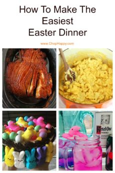 How To Make The Easiest Easter Dinner. Grab a ham, slow cooker, mac and cheese, and PEEPS candy. This is make ahead and fast recipes. Happy Easter and Happy Cooking! www.ChopHappy.com #Easter #HolidayDinner