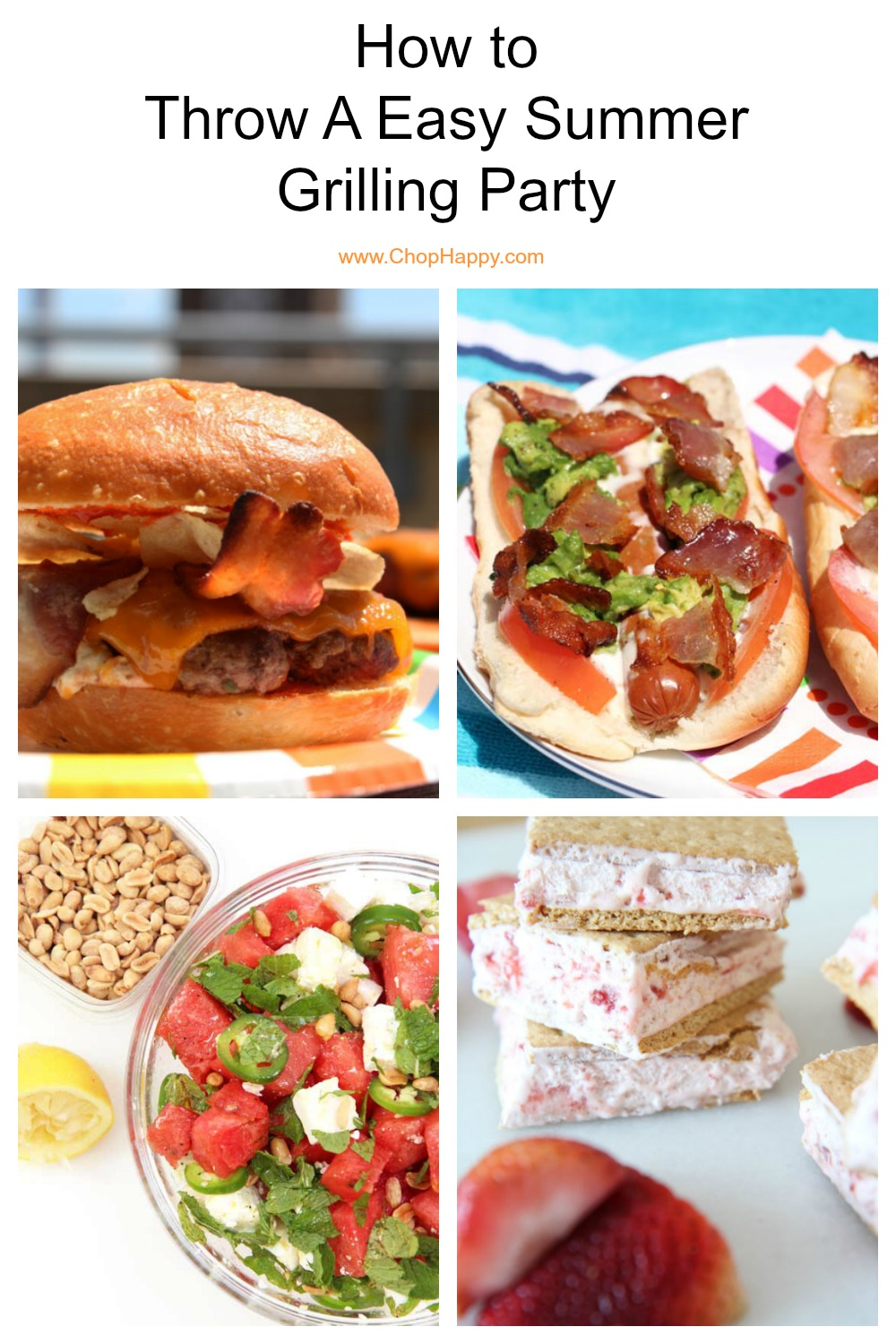 How to throw a easy summer party. Here is step by step guide to an easy backyard BBQ. The recipes include frozen mango drink, watermelon feta salad, avocado potato salad, jalapeno popper burgers, BLT hot dogs, and 3 ingredient ice cream. Happy Summer Eats! #summerrecipes #grillingrecipes