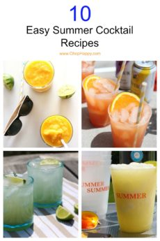 10 Easy Summer Cocktail Recipes. Mojito, aperol spritz, margarita, colada, and iced tea cocktail recipes. Easy, no fany equipment, and perfect party cocktails. www.ChopHappy.com #cocktailrecipes #summercocktail