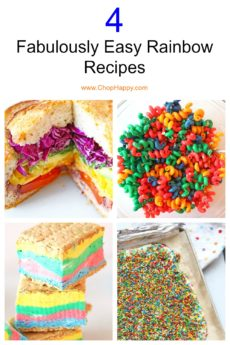 4 Fabulously Easy Rainbow Recipes. Grab the rainbow desserts and sandwich recipes and get ready for fun eating. Happy Cooking! #rainbowrecipes #rainbowdesserts