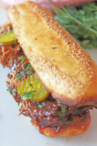 Huge BBQ Pork Sandwich with Garlic Bread Bun (slow cooker recipe)