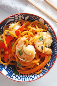 Shrimp Zoodles Lomein Recipe. Grab zoodles, garlic, scallions, bell peppers and cilantro. Also the suace of soy sauce, vinegar, hoisin sauce, and sriracha. Happy easy weeknight dinner making. www.ChopHappy.com #zoodlesrecipe #lomeinrecipe