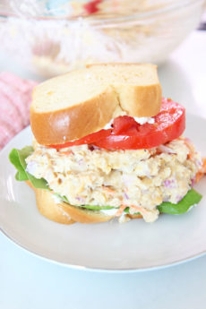 Chickpea Tuna Salad Recipe. This is a popular vegan recipe. I add Greek yogurt but you can easily use vegan mayo too. This is a hearty creamy lunch idea or salad recipe! Happy Cooking! www.ChopHappy.com #chickpeas #vegatarianrecipe