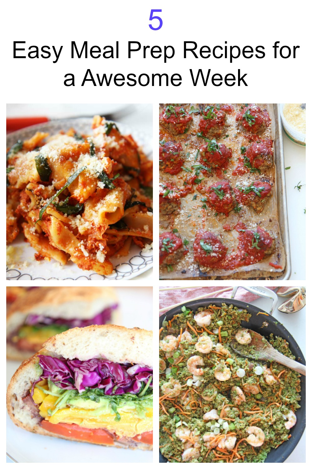 5 Awesome Recipes For Meal PrepNothing better then meal prep to make your week much less crazy. Prep, smile and eat! Lunches include sheet pan meatballs, turmeric lentil soup, a big veggie sandwich and more. Happy cooking!