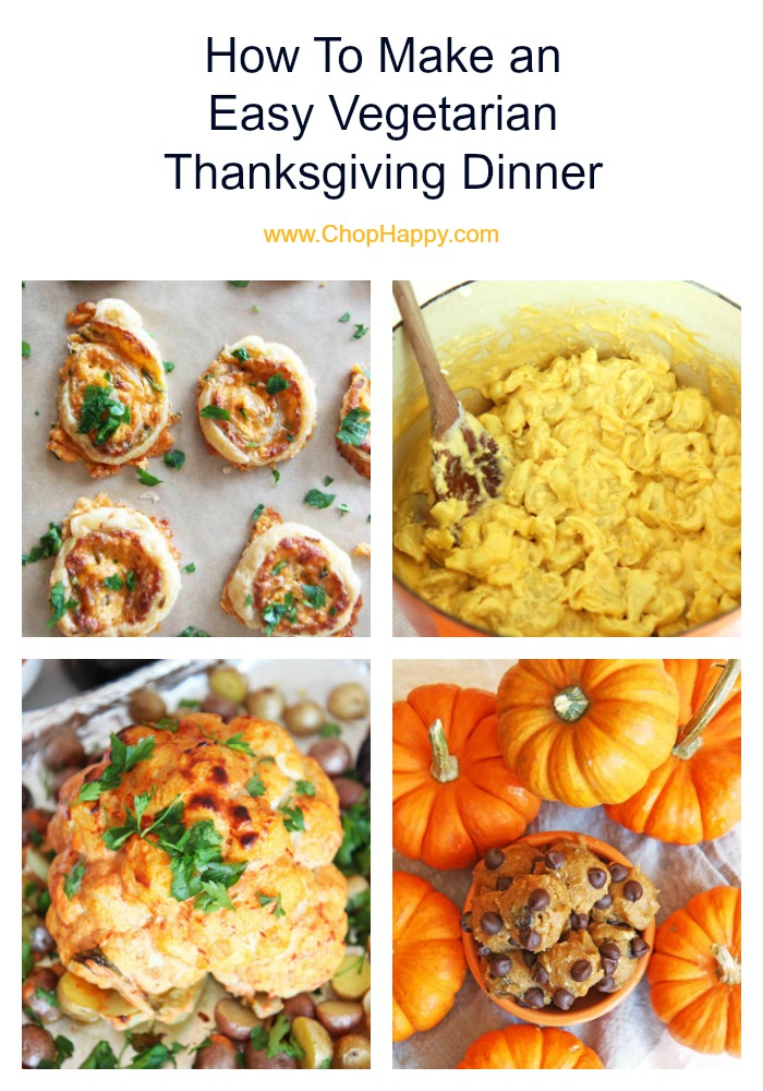 How To Make an Easy Vegetarian Thanksgiving Dinner. Easy meatless holiday recipes for everyone to enjoy! Sheet pan roasted cauliflower, easy mashed potatoes, and fun no-bake desserts. Happy Thanksgiving. #vegetarianThanksgiving #thanksgivingrecipes