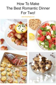 How To Make The Best Romantic Dinner For Two! Perfect date night meal from cocktail to dessert. Everything is make ahead and decadent. Tell someone you love them with a home cooked comfort food recipe! Bacon wrapped tater tots, salad, steak and potatoes, and cookie dough for dessert! Cheers to Love! www.chophappy.com #ValentinesDayRecipes #romanticdinner