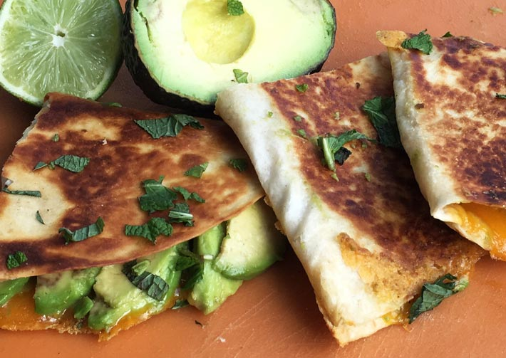 Avocado Cheddar Quesadillas that make meatless Monday creamy cheesy delicious. ChopHappy.com