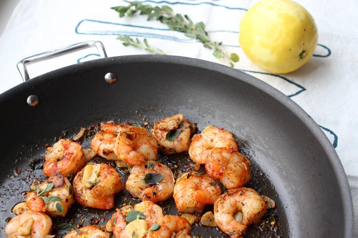 Spicy Garlic Shrimp Recipe. Easy, 10 minutes, and such a great weeknight dinner. www.ChopHappy.com