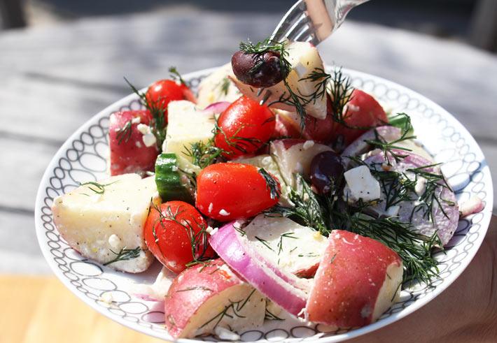 Greek Potato Salad Recipe. Great make-ahead recipe for the busy home cook. ChopHappy.com