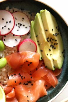 Salmon Rice Bowl w/ Tangy Ginger Dressing (comforting bowl of smiles)