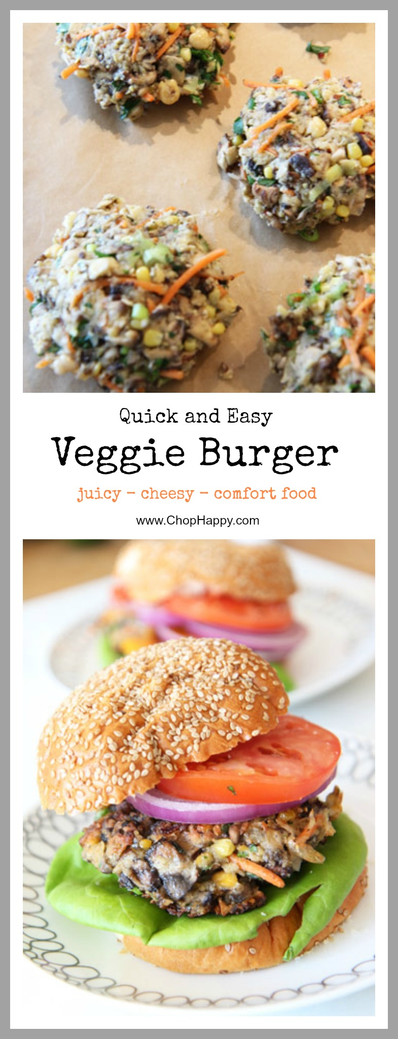 Easy Veggie Burger Recipe - that will make even a meat eater love this burger. The best part is you throw abunch of veggies, cheese, and eggs in a bowl and patties are ready quickly. www.ChopHappy.com