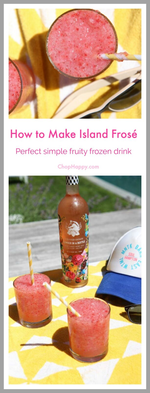 How to Make Island Frosé (Frozen Rosé) Recipe. Super easy, fun, and instant vacation in your backyard kind of recipe. www.ChopHappy.com