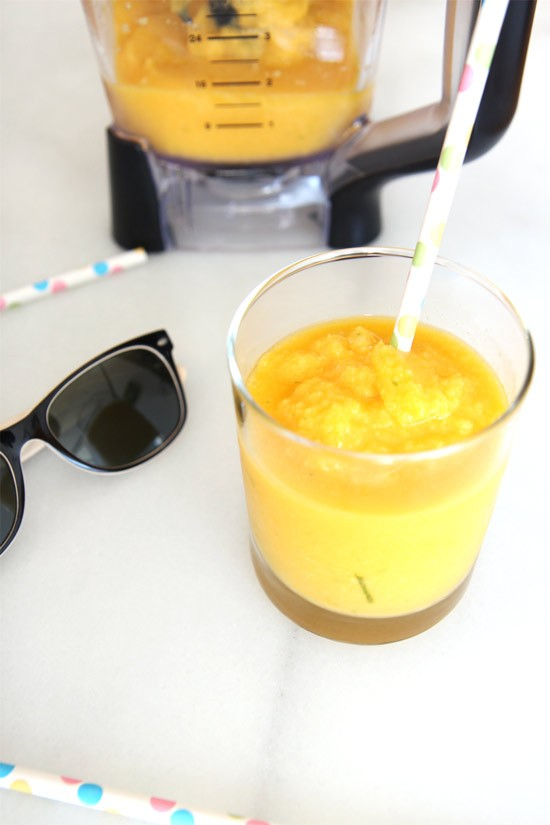 3 Ingredient Mango Wine Slushy Recipe. It is so easy there are only 3 ingredients. Easy cocktail recipe for busy people. www.ChopHappy.com
