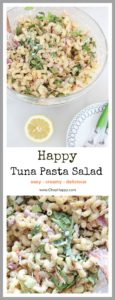 Tuna Pasta Salad Recipe- Creamy yummy smiles from this easy fabulous dinner. Tuna, crunchy carrots, and pasta makes this a perfect recipe for you to make. www.ChopHappy.com