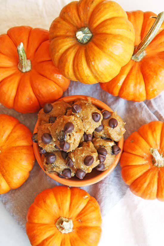 Pumpkin Spice Cookie Dough Recipe - is as easy as drop all the ingredients in the bowl, stir, and eat. Its decadent comfort food dessert. The best part is it is a sweet No-Bake dessert. www.ChopHappy.com